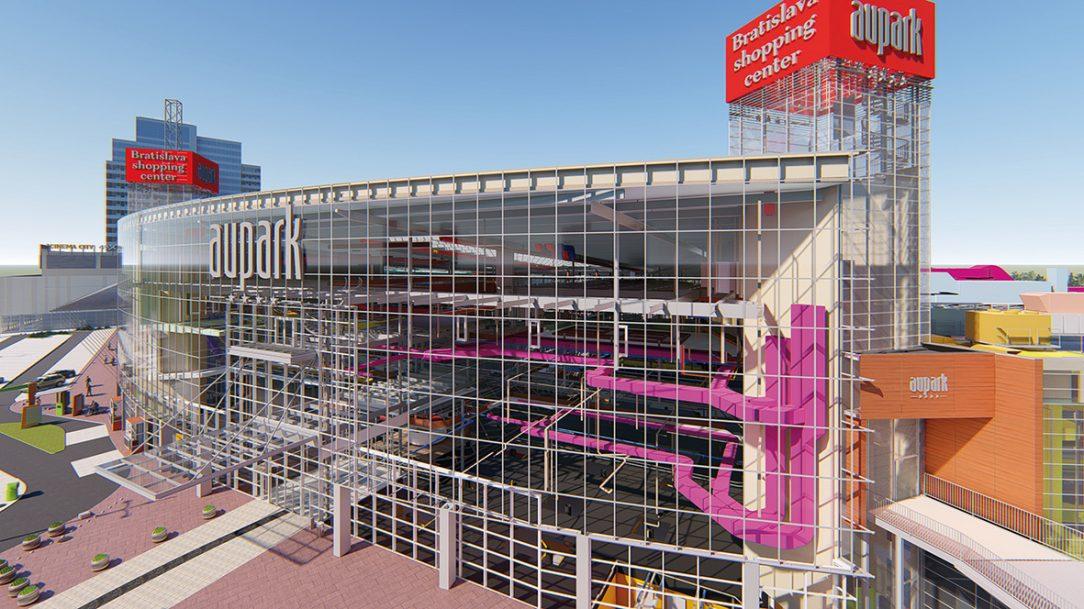 Obchodné centrum Aupark, Bratislava Digitalizácia existujúcej budovy a správa BIM modelu na účely facility managementu.