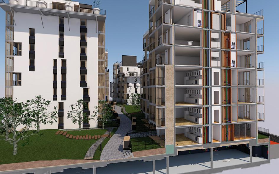 Bytový komplex NiDO I, Bratislava Projekt: 2016 – 2017, realizácia: 2016 – 2017. Poprvýkrát sa na Slovensku podarilo preniesť model na stavbu, tzv. BIM manažment, počas výstavby.