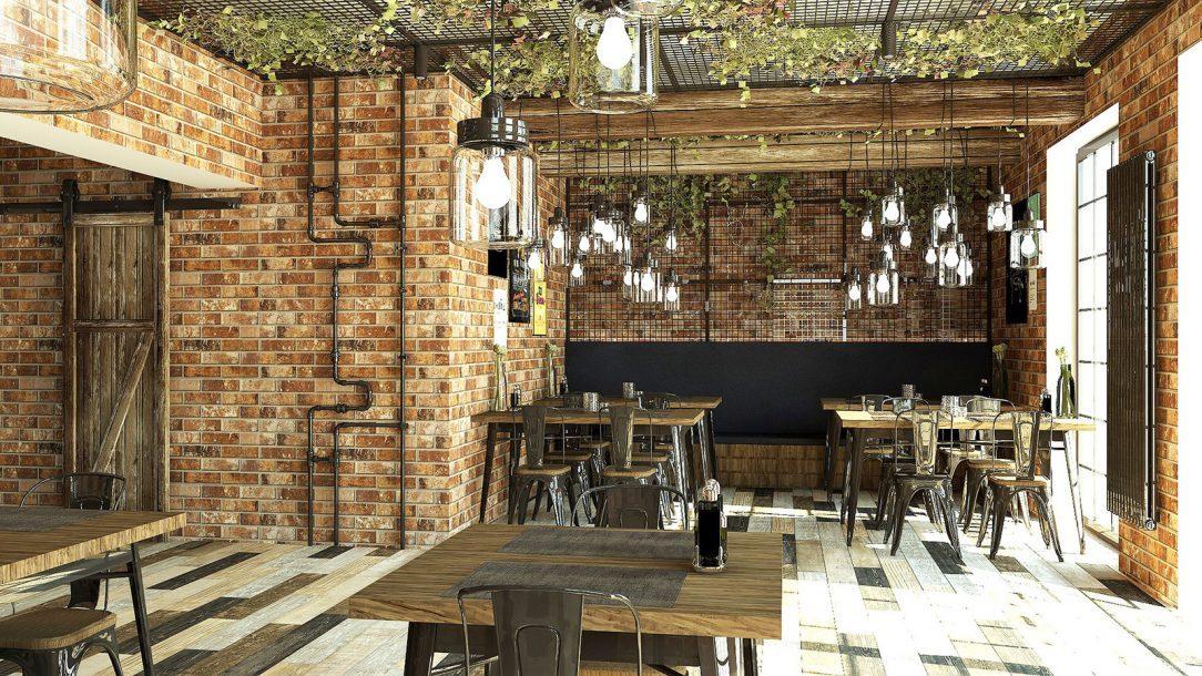1. miesto interiér reštaurácie zvislý variant radiátora Zehnder Charleston s lakom Technoline