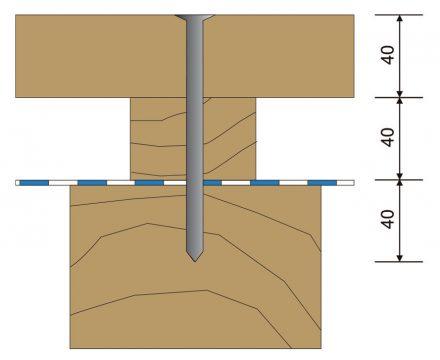 Obr. 6 Perforácia hydroizolácie klincom v mieste krokvy