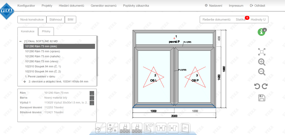 Okno pod drobnohľadom vo funkcii Konfigurátor WinDoPlan
