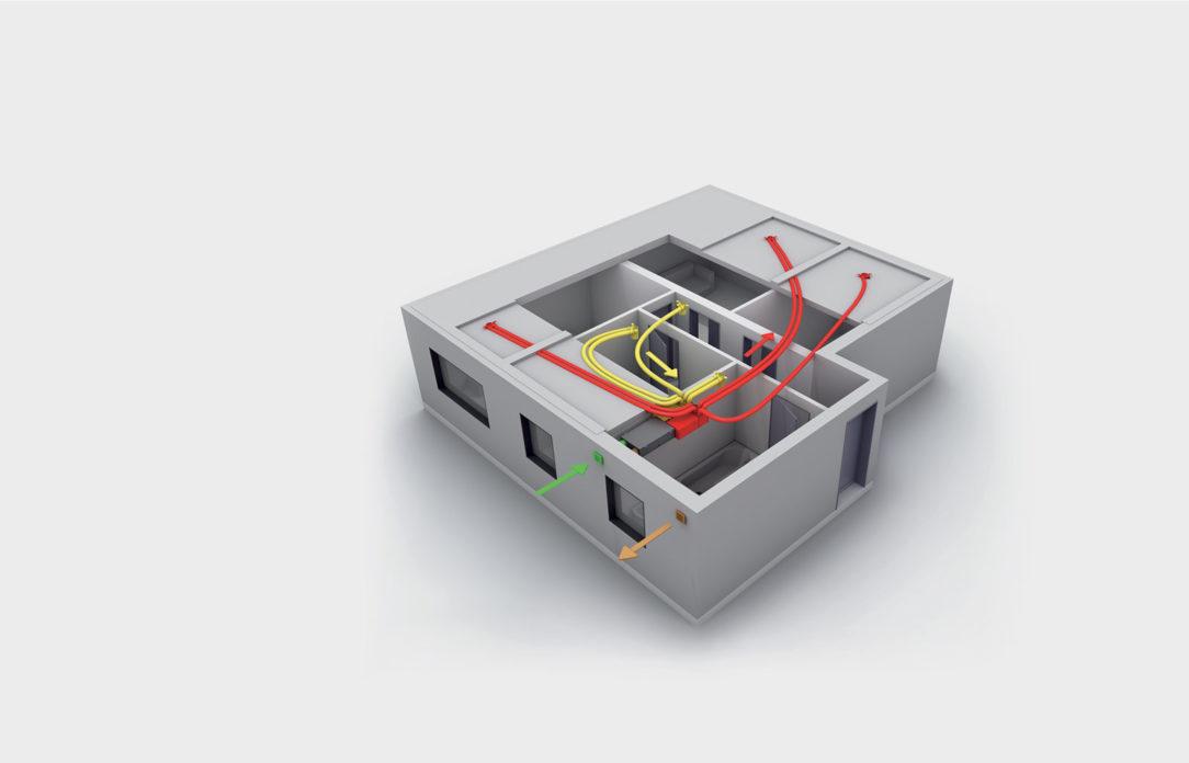 Príklad č. 1 byt s rozlohou 96 m2 vonkajší vzduch privádzaný vzduch odvádzaný vzduch odvetrávaný vzduch