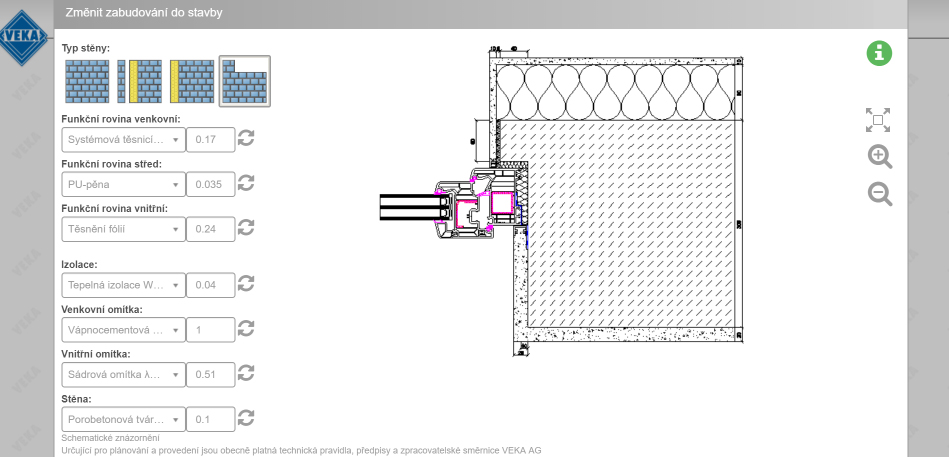 Osadenie okna do stavby vo funkcii Konfigurátor WinDoPlan