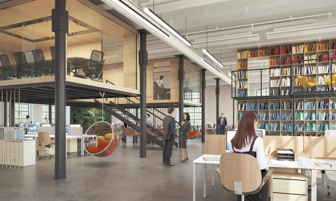 Ukážka možného interiérového riešenia administratívnych priestorov v Pradiarni.