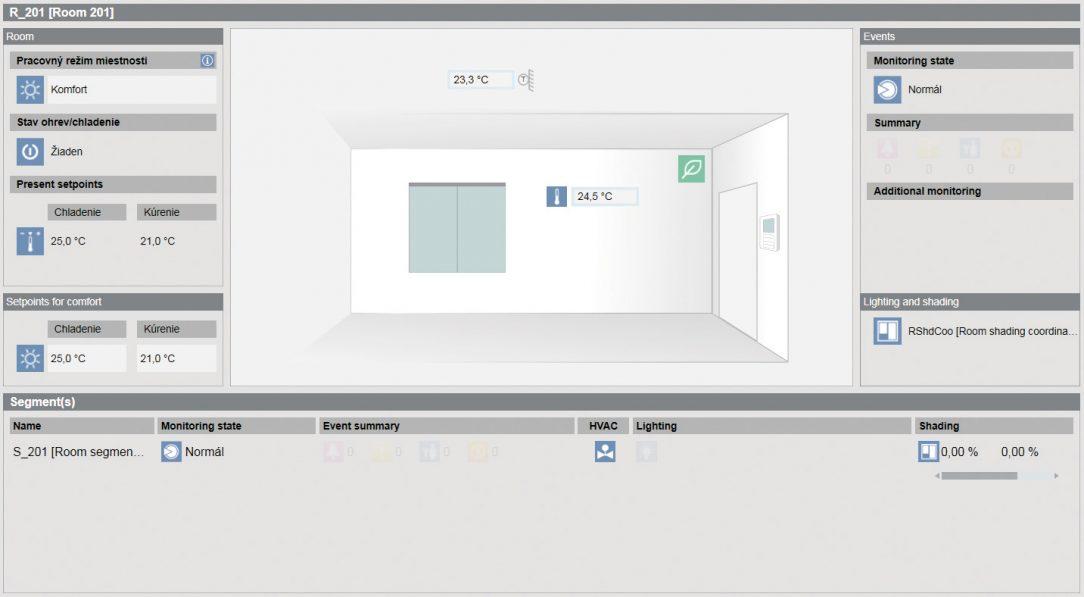 Zobrazenie miestnosti v Desigo CC