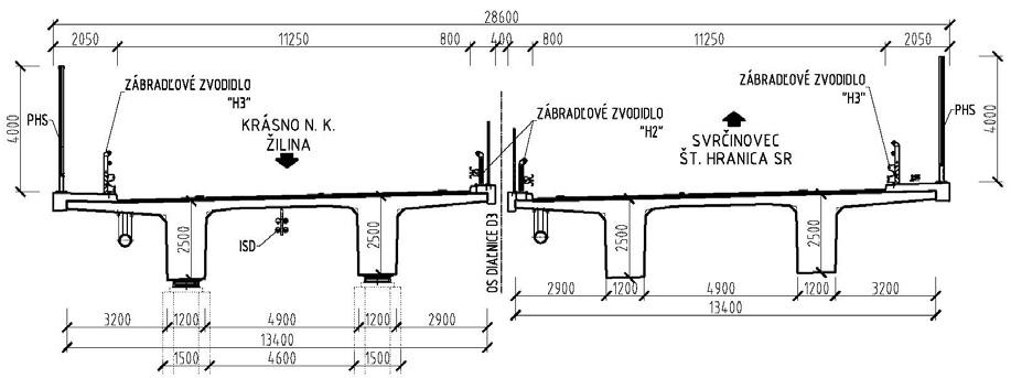 Obr. 1 Vzorový priečny rez dvojtrámovou nosnou konštrukciou
