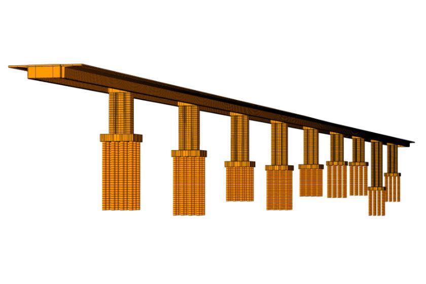 Obr. 2 Celkový model pravého mosta SO 209 00