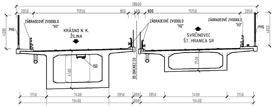 Obr. 2 Vzorový priečny rez komorovou nosnou konštrukciou