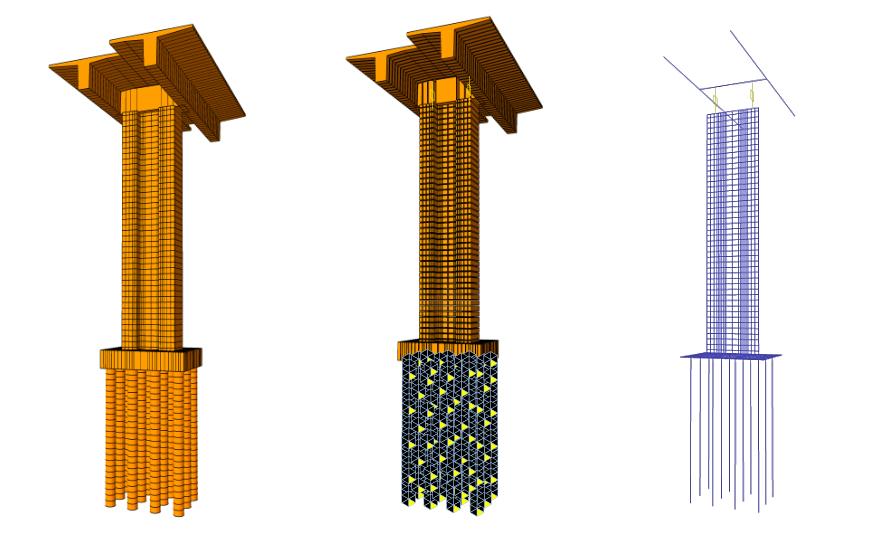 Obr. 3 Model najvyššieho piliera č. 18 s uvažovaným podopretím