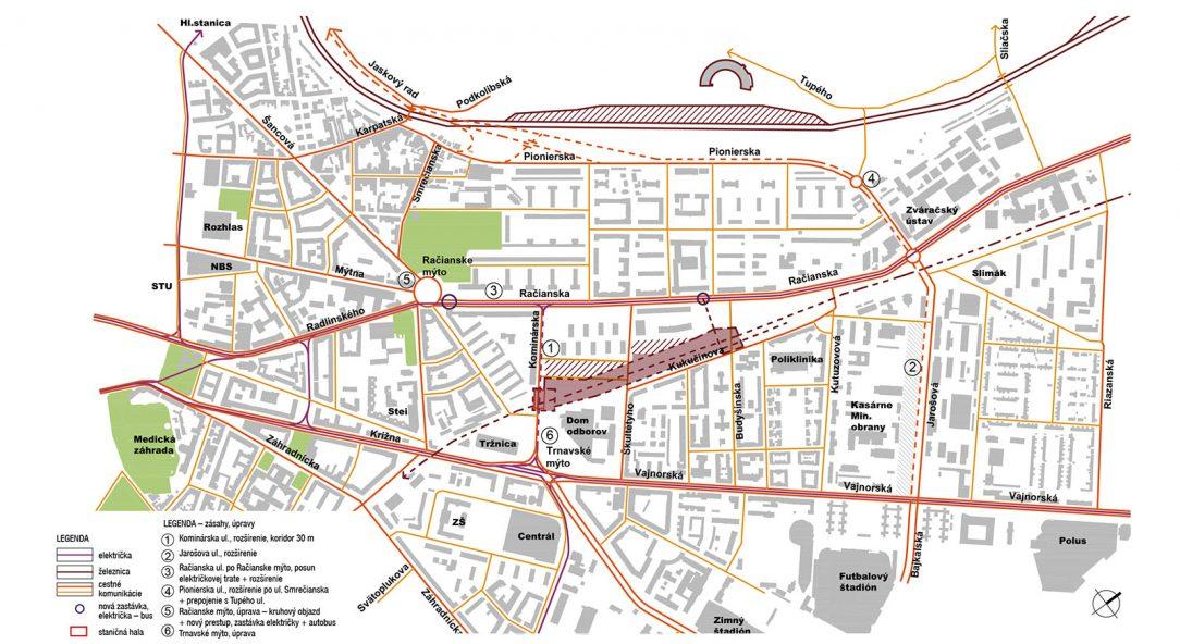 Návrh napojenia na okolité komunikácie a trasy električiek od architekta Petra Žalmana.