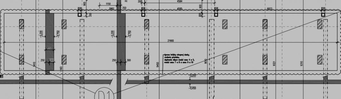 Obr. 1 Riešenie zmeny nosného systému zo stĺpového na stenový v stropnej konštrukcii pomocou obmedzeného zhrubnutia časti stropnej konštrukcie