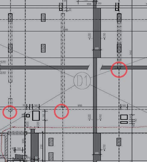 Obr. 3 Nadväznosť nosného konštrukčného systému so vznikom miest s nedostatočným podoprením