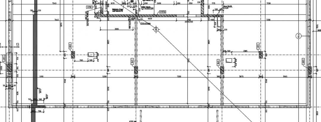 Obr. 4 Časť výkresu tvaru stropnej konštrukcie pri riešení zmeny konštrukčného systému s celoplošným zhrubnutím stropnej dosky z 220 mm na 350 mm