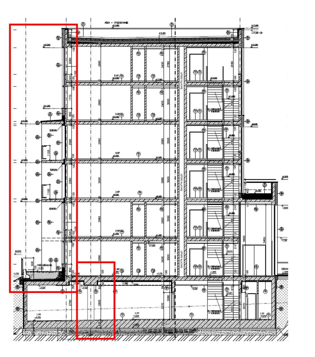Obr. 5 Priečny rez budovou s posunom nosných prvkov