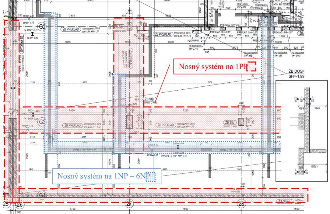 Obr. 6 Výkres tvaru dosky nad 1. PP a zmena nosného systému medzi 1. PP a 1