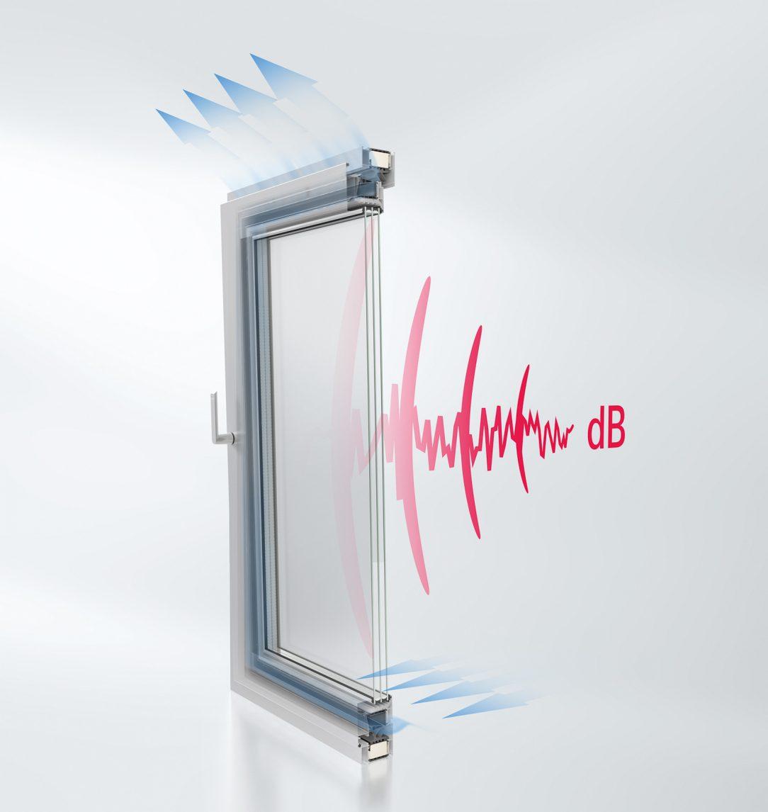 Okenné riešenie AWS 90 AC.SI má špeciálne stredové tesnenie a vzduch prúdi cez krídlo čím zabezpečuje zníženie zvuku v sklopenej otvorenej polohe.
