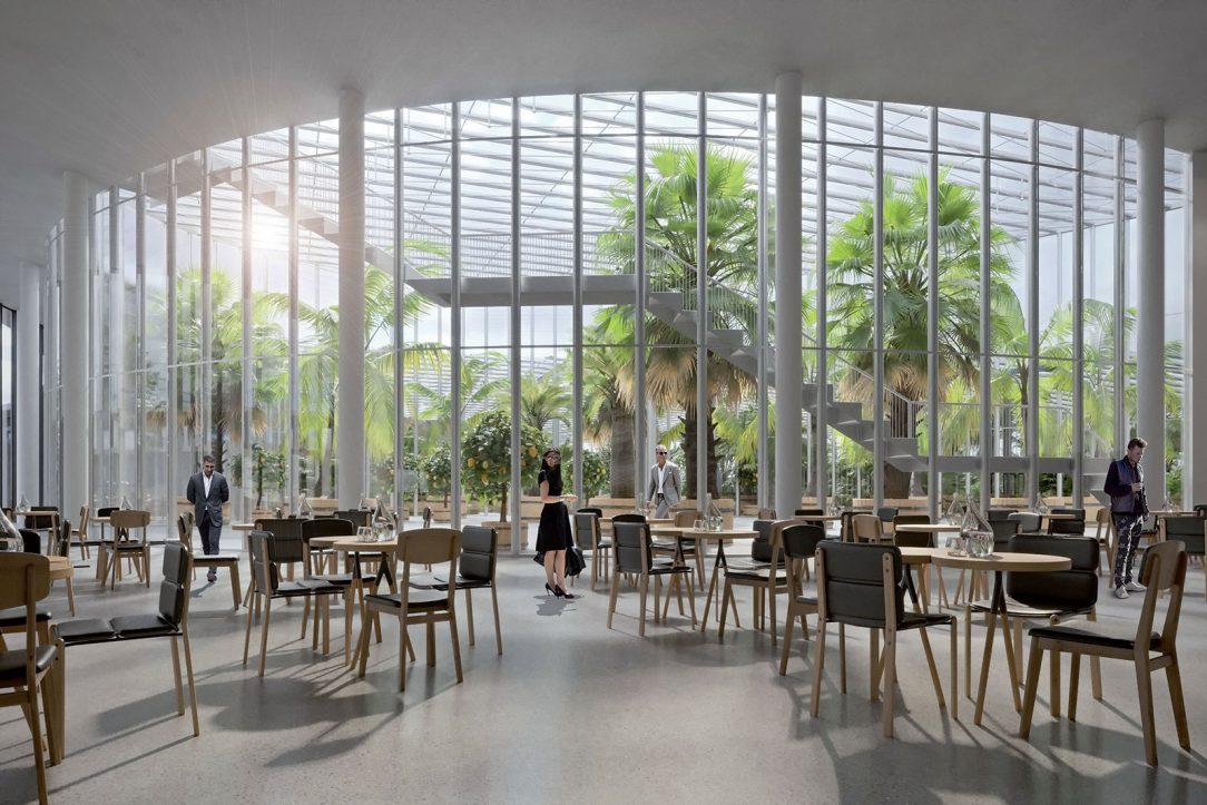 Reštaurácia je vizuálne prepojená s vysokým skleníkom.