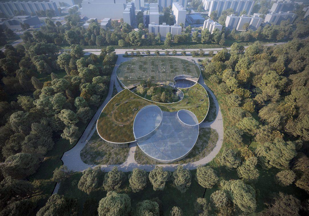 Vstupný areál botanickej záhrady.