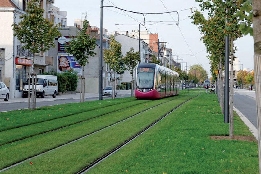 Ukážka vegetačného povrchu električkových tratí strávnatým povrchom