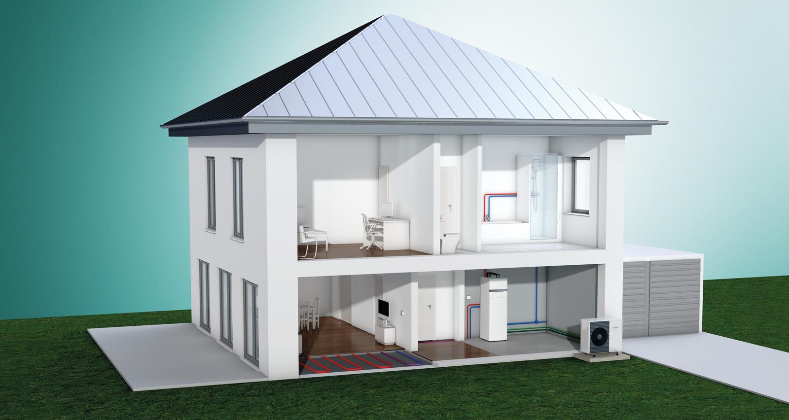 Tepelné čerpadlo aroTHERM Split vzduch/voda, modul uniTOWER, podlahové kúrenie a systémový regulátor multiMATIC.