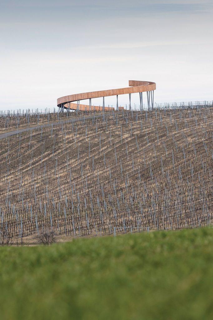 Jemná špirála netypickej rozhľadne sa dvíha nad vinohradmi nad obcou Kobylí na južnej Morave.