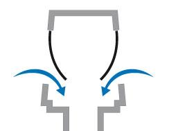 Pokiaľ vznikne v dôsledku spláchnutia toalety podtlak membrány sa otvoria a do systému začne prúdiť vzduch.