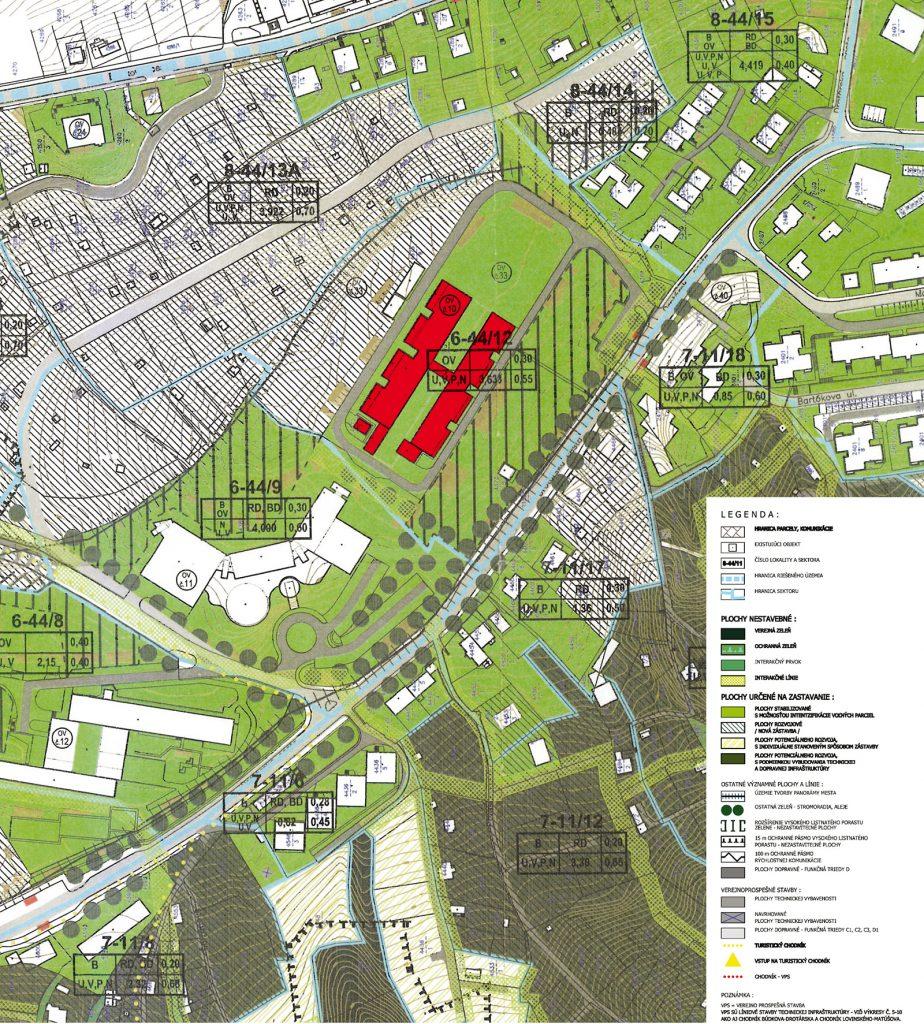Územný plán zóny. Budova Vysokej školy výtvarných umení je označená číslom 6-44/12 (vyznačená červenou farbou).