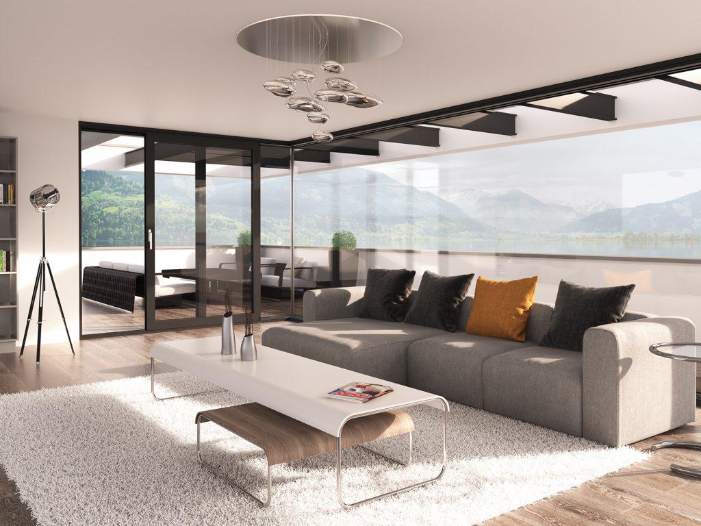 O panoramatický výhľad z interiéru sa starajú zdvižno posuvné systémy v spojení s celoskleneným rohom.