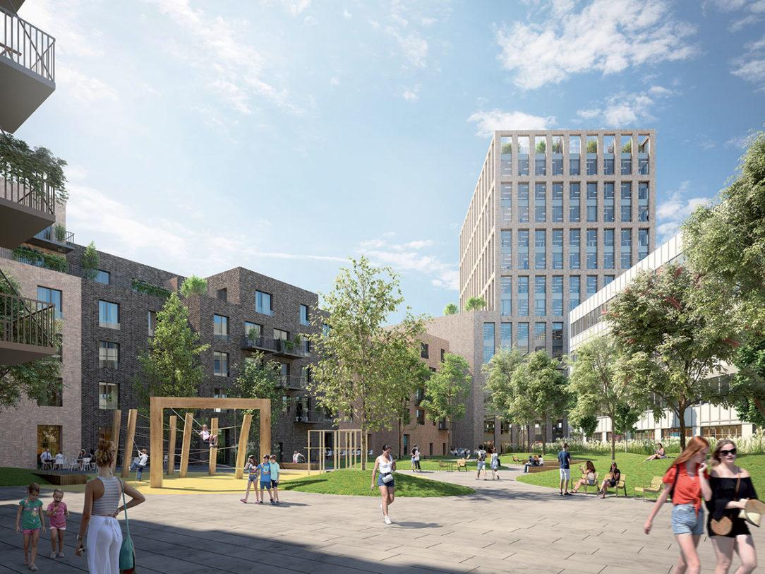 Projekt ZWIRN spája pozitívne atribúty bývania atraktívnu lokalitu výhľad na priestranné nové námestie a k tomu pokojné vnútrobloky so zeleňou a detskými ihriskami.