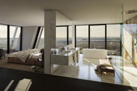 V penthausoch neobyčajného V Toweru v Prahe sa voľne stojaca vaňa Meisterstück Centro Duo Oval perfektne začleňuje do luxusného interiéru