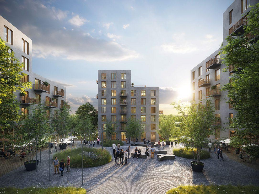 Compass architekti koncept bodových domov v zeleni maximalizuje plochu preslnených fasád