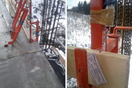 Obr. 2 Umiestnenie zariadenia na meranie teploty betónu v debnení na okraji mostovej lamely