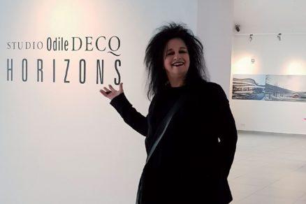 Odile Decq na svojej výstave v Tatranskej galérii v Poprade.