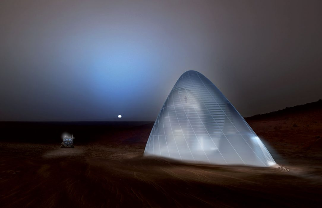 Tím Space Exploration Architecture a tím Clouds Architecture Office of New York s dizajnom Mars Ice House vyhrali prvé kolo výzvy NASA Habitat Challenge. Ich návrh základne na Marse počíta s tlačou z ľadu.