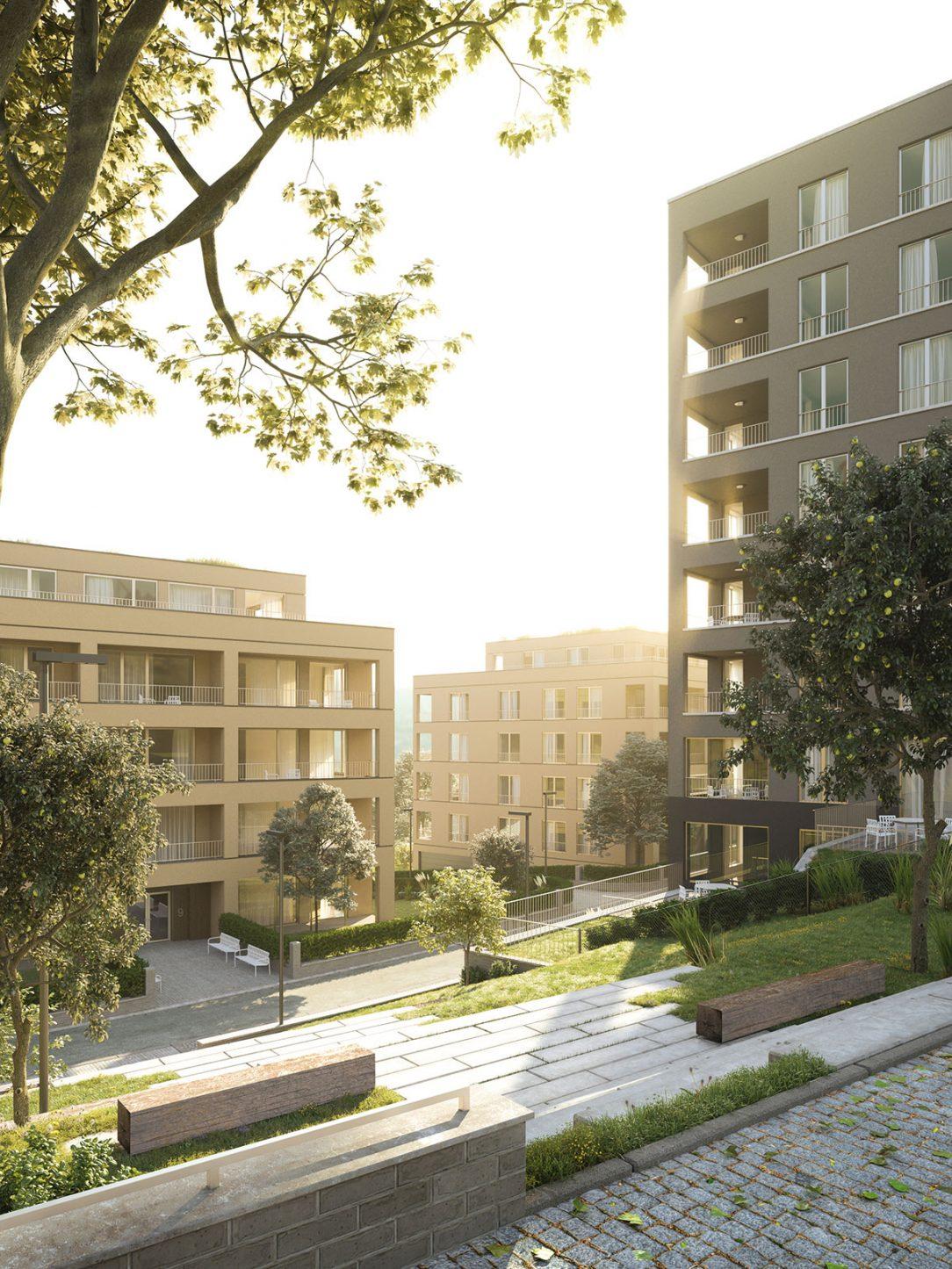 Víťazný návrh ateliéru re architekti. Medzi domami vznikajú pohodlné a príjemné susedské priestory