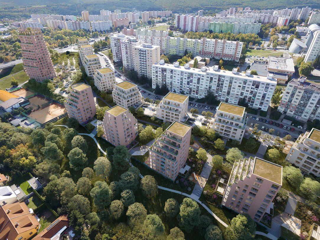 Vallo Sadovsky Architects terasovité bytové domy pozdĺž lineárneho parku