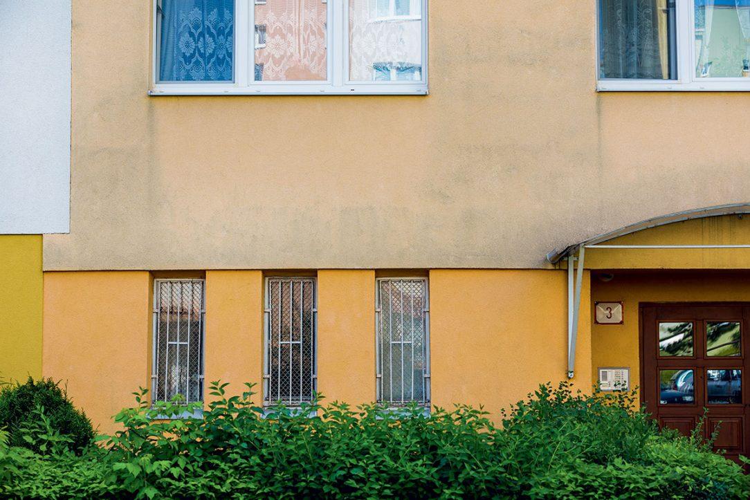 Obr. 1 Pohľad na zateplený obvodový plášť panelového bytového domu pred aplikáciou účinného systému proti tvorbe plesní rias a húb