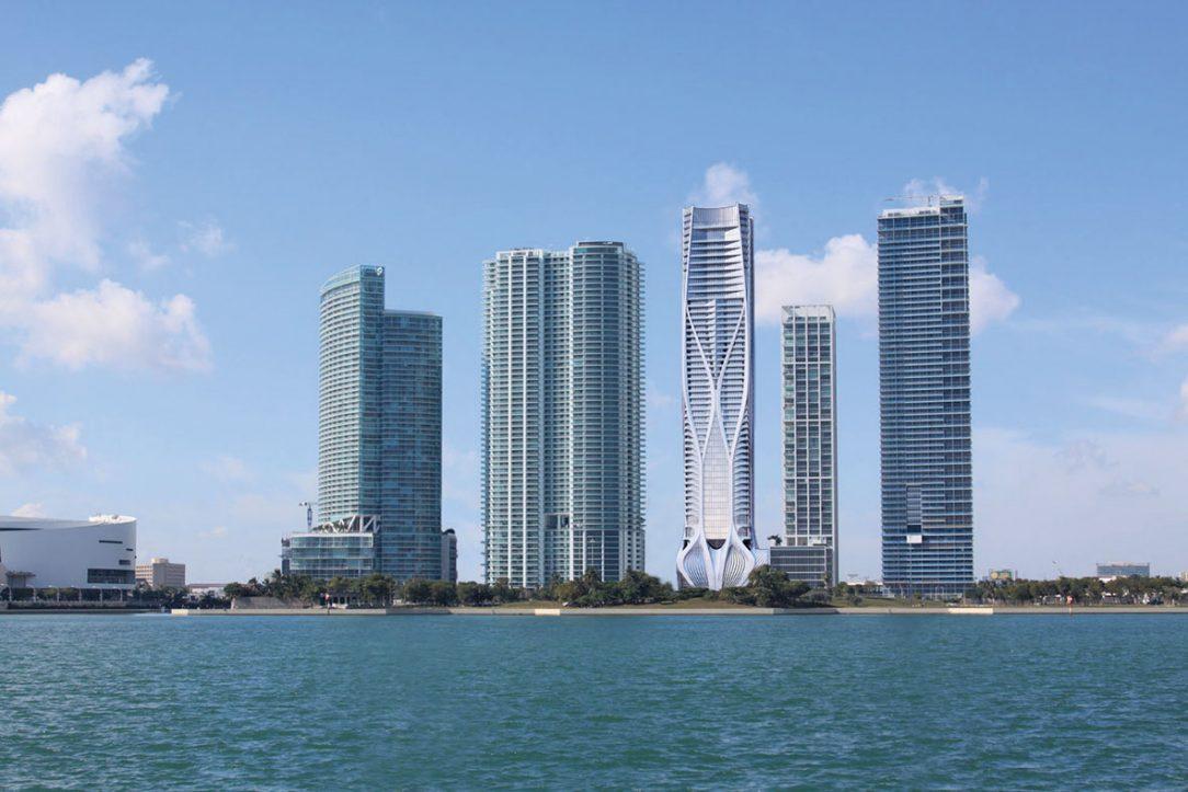 One Thousand Museum, Miami, USA, 2012 – 2019 Inovatívny architektonický projekt navrhovala ešte Zaha Hadid avsúčasnosti je tesne pred dokončením. 62-poschodová veža je prvou rezidenčnou vežou Zahy Hadid vSpojených štátoch asvýškou 216 m je štvrtou najvyššou budovou vMiami. Vizualizácia: Zaha Hadid Architects