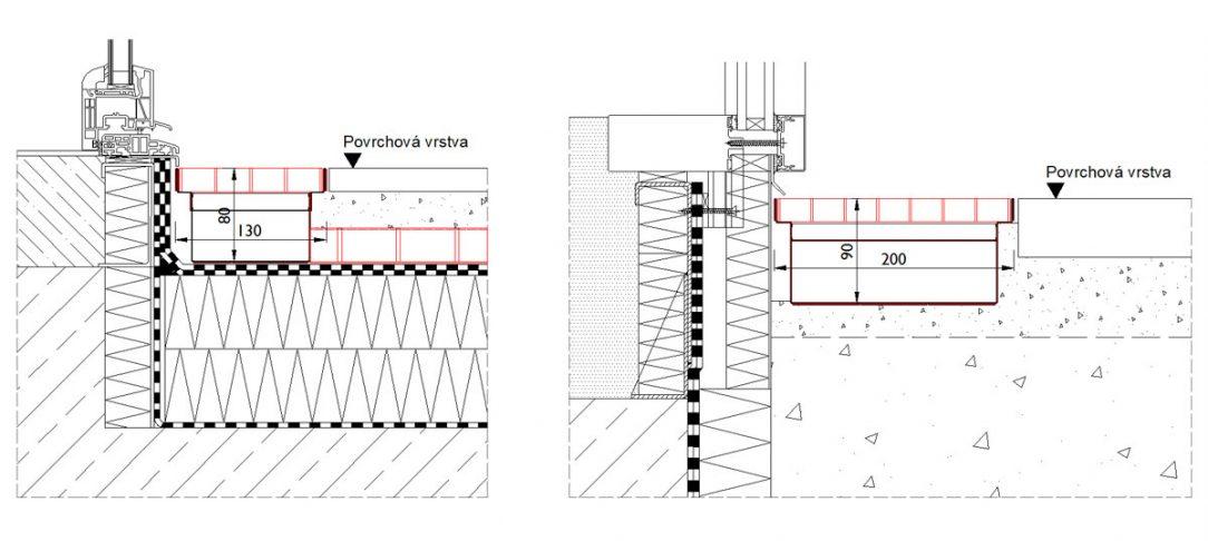 Detail zabudovania fasádneho žľabu na terase a popri transparentnej fasáde