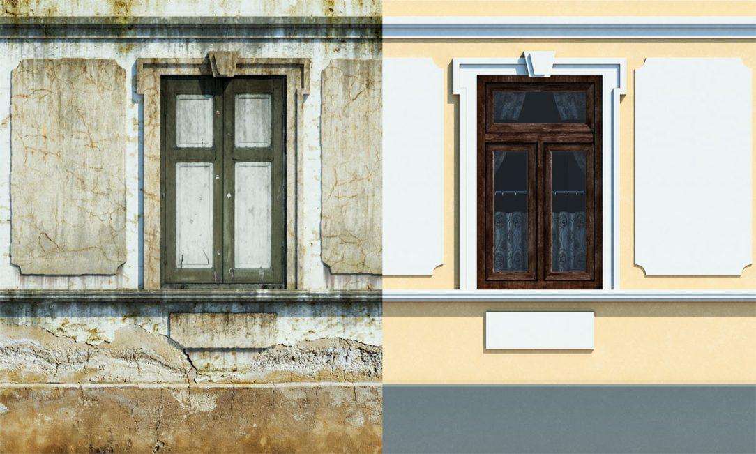 Pred a po sanácii muriva