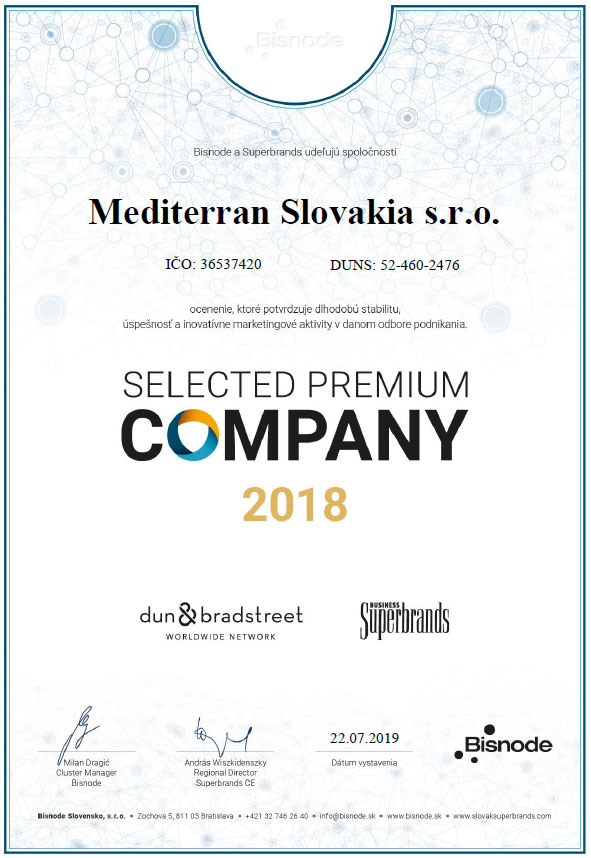 Spoločnosť Mediterran Slovakia s.r.o. získala za rok 2018 certifikát Bisnode Selected Premium Company