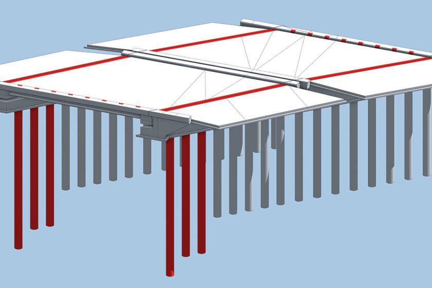 Obr. 3 Celková konštrukcia mosta vymodelovaná prostredníctvom BIM nástroja