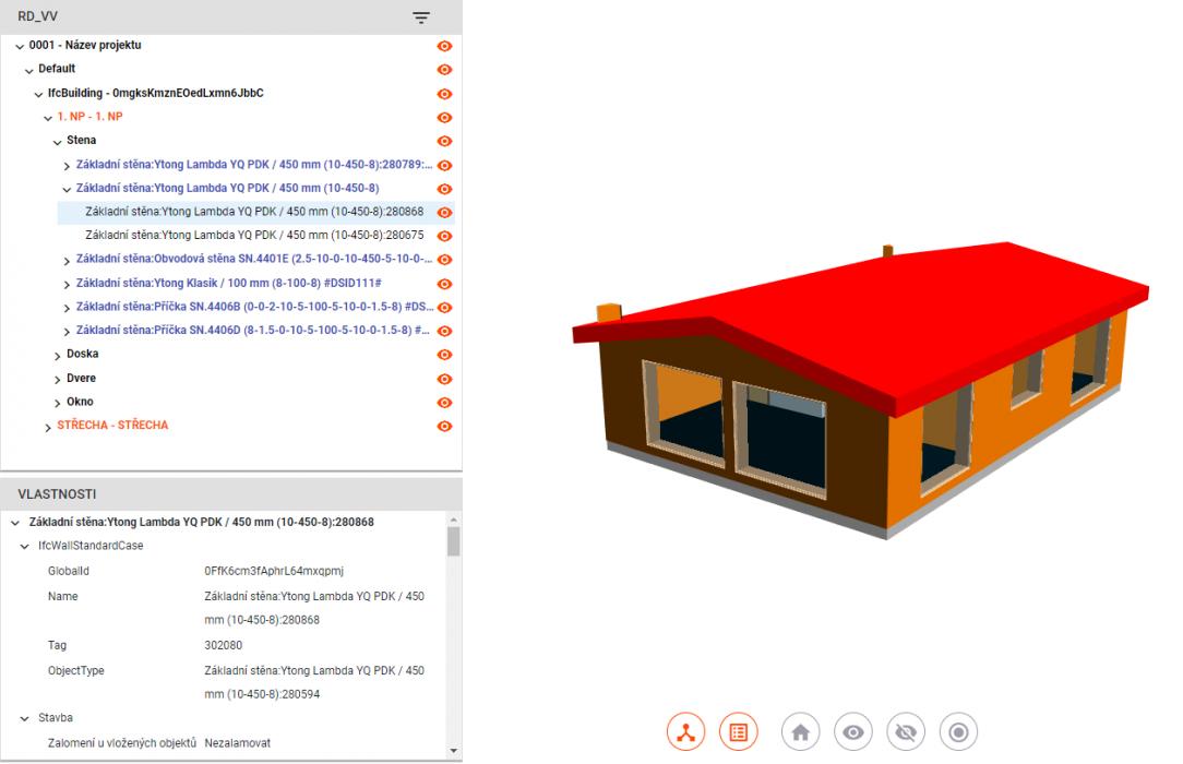Prehliadač BIM modelu investorovi vizualizuje stavbu a umožní pozrieť si aj ceny jednotlivých častí stavby ktorým rozumie