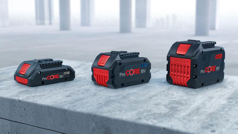 Bosch ponúka najkompaktnejšie vysokovýkonné 18 voltové akumulátory na trhu ProCORE18V 4.0 8.0 a 12.0 Ah
