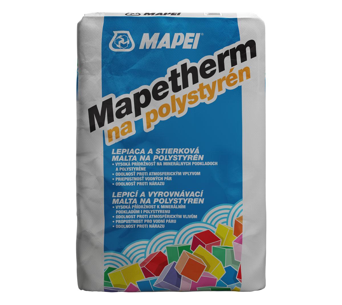 Mapetherm na polystyrén je lepiaca malta určená na lepenie a stierkovanie tepelnoizolačných dosiek z polystyrénu