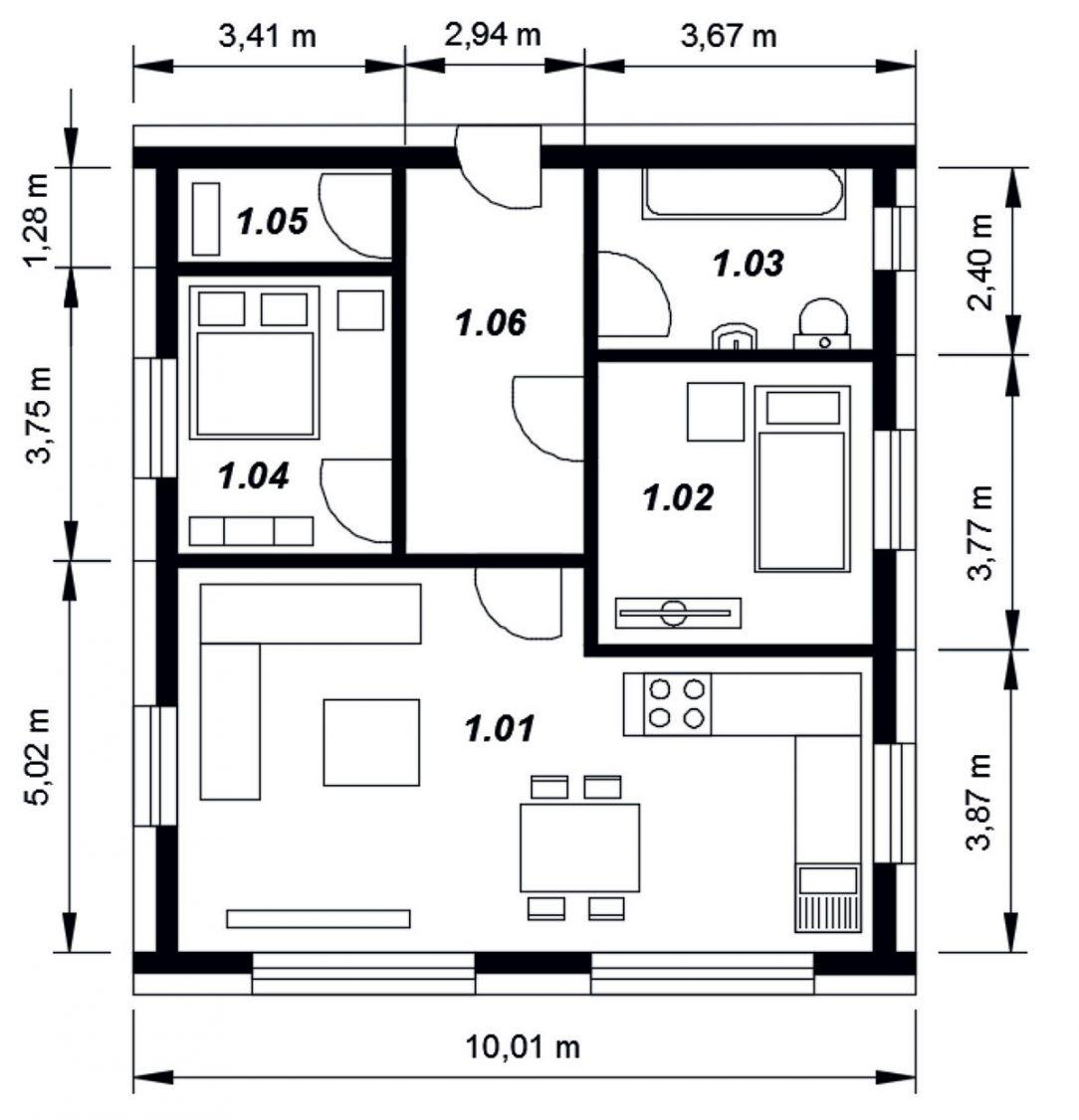 Obr. 1 Modelový dom.