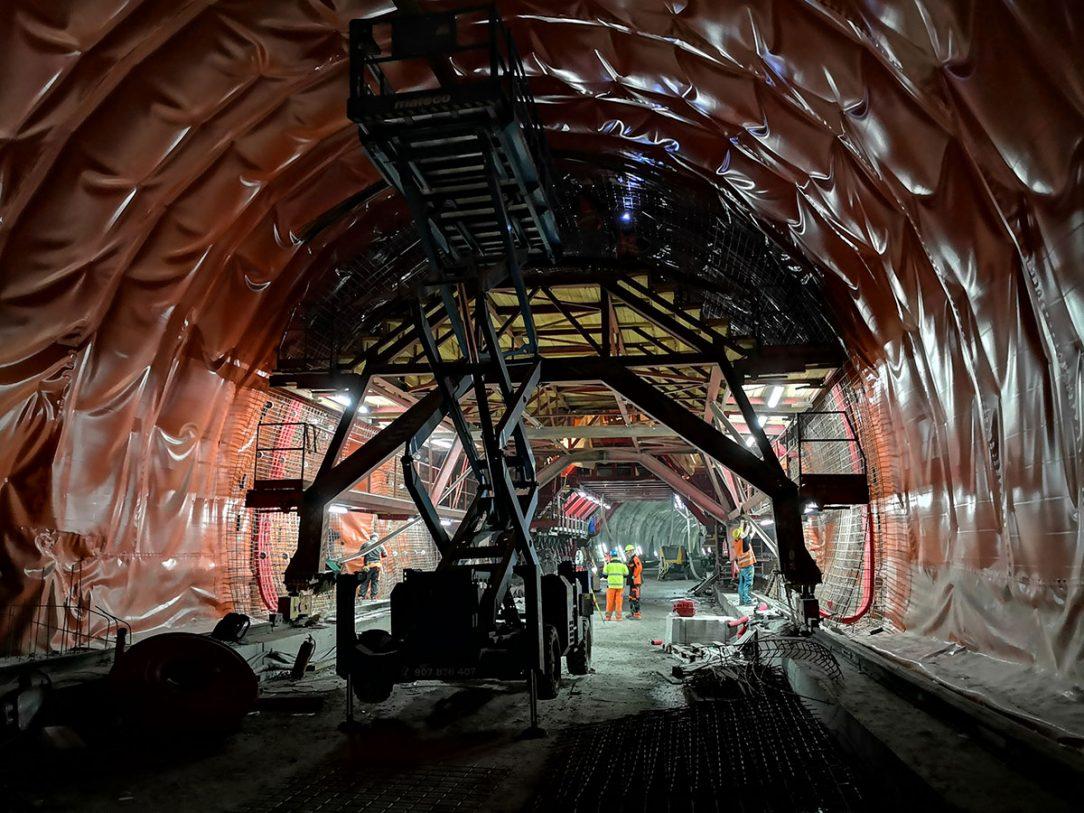 Betonárske práce v tuneli Prešov 2