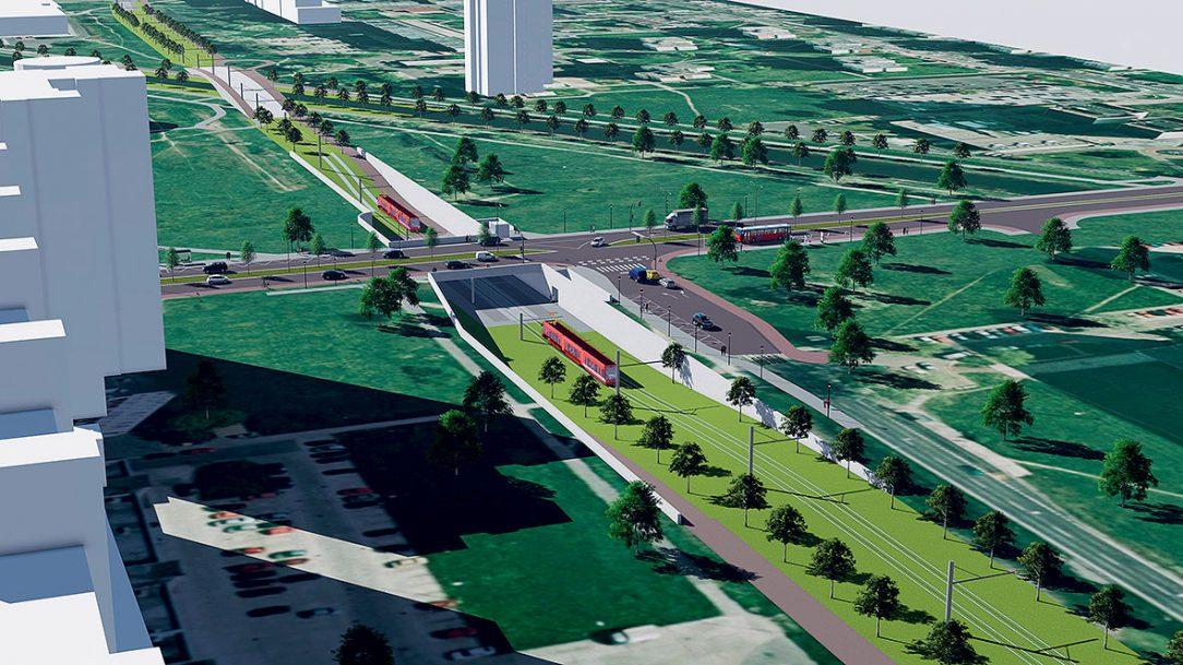 Vizualizácia novej električkovej infraštruktúry v Bratislave Petržalke