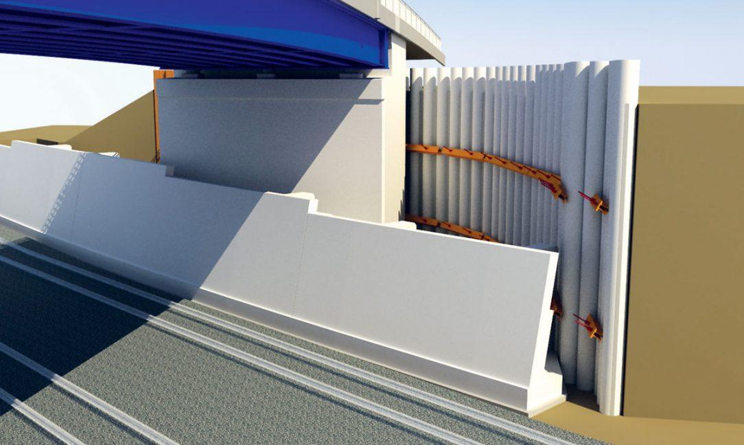 Obr. 9 Vizualizácia nového mostného objektu – pohľad na zabezpečenie stavebnej jamy pri opore č. 2