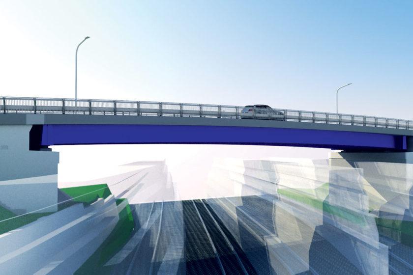Obr. 8 Vizualizácia nového mostného objektu – pohľad zo železničnej trate